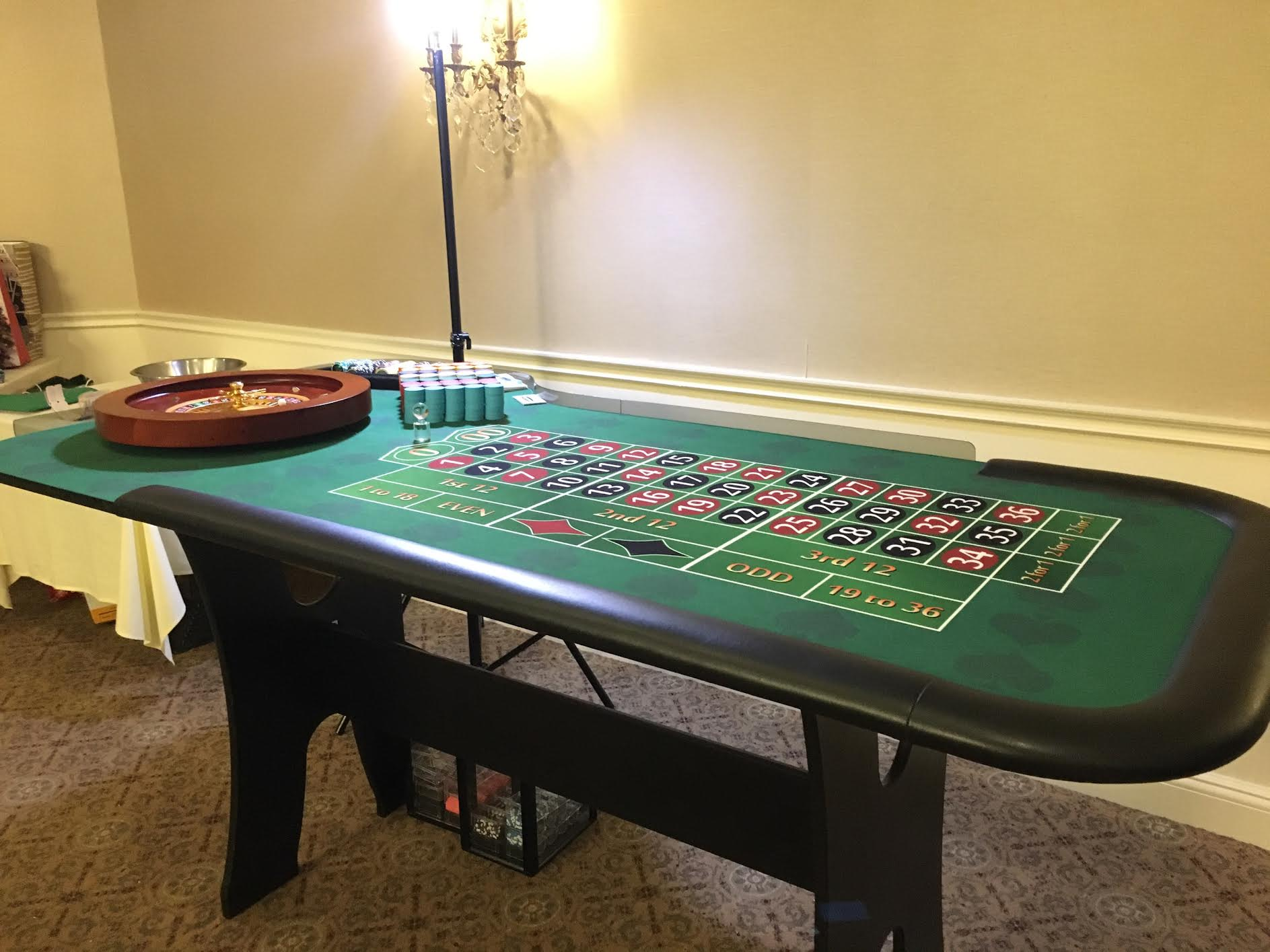 roulette table with wheel for party
