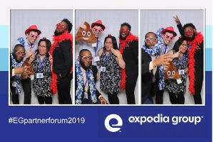 corporate event photo booth selfie station expedia group partners event 2019 trade show selfie station